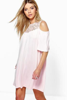 Cara Lace Cold Shoulder Swing Dress