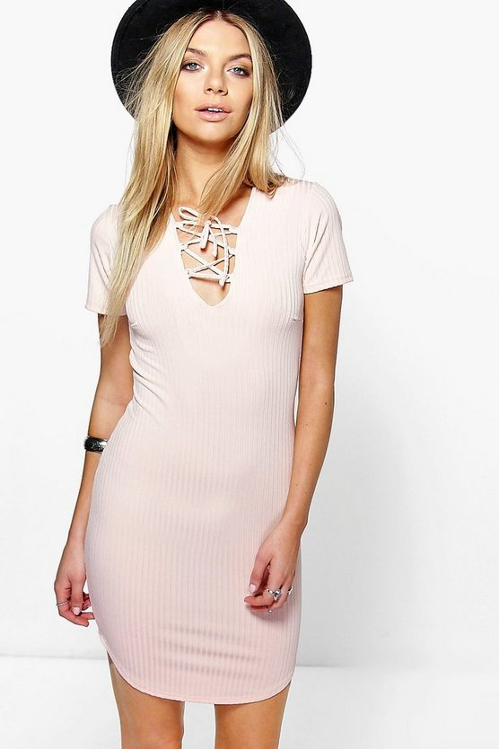 Lucia Lace Up Ribbed Curved Hem Bodycon Dress