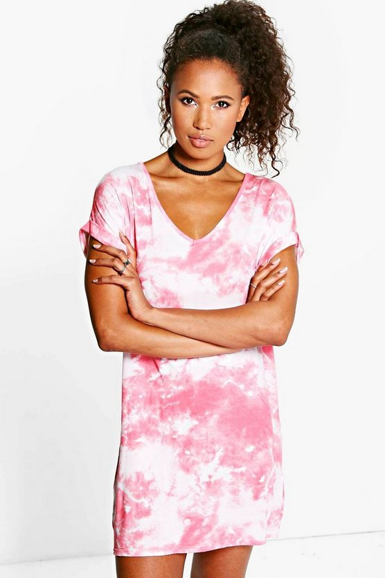 Paris Tie Dye Turn Up T-Shirt Dress