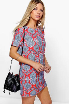 Sarah Ethnic Printed Cap Sleeve Shift Dress