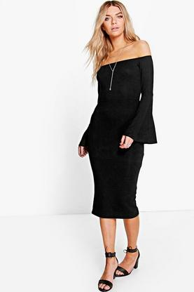 Aria Off Shoulder Flared Sleeve Midi Dress