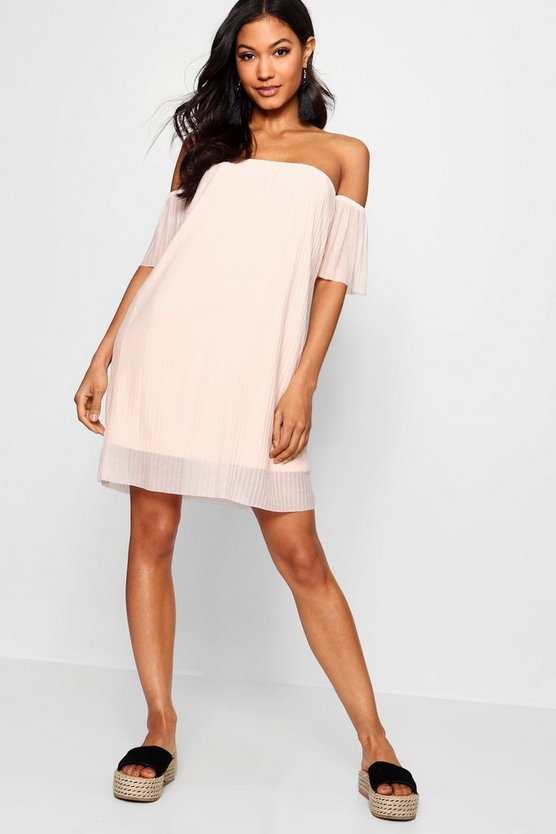 Off Shoulder Pleat Shift Dress