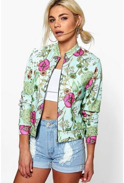 Lacey Floral Jersey Bomber