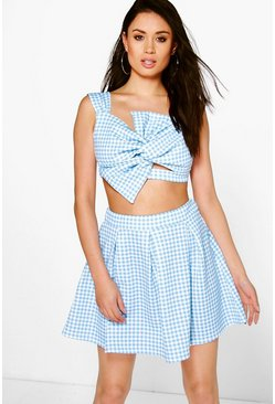 Amalya Scuba Gingham Box Pleat Skater Skirt