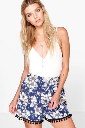 Bella Pom Pom Trim Floral Flippy Shorts