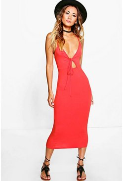Marlena Strappy Tie Detail Cut Out Midi Dress