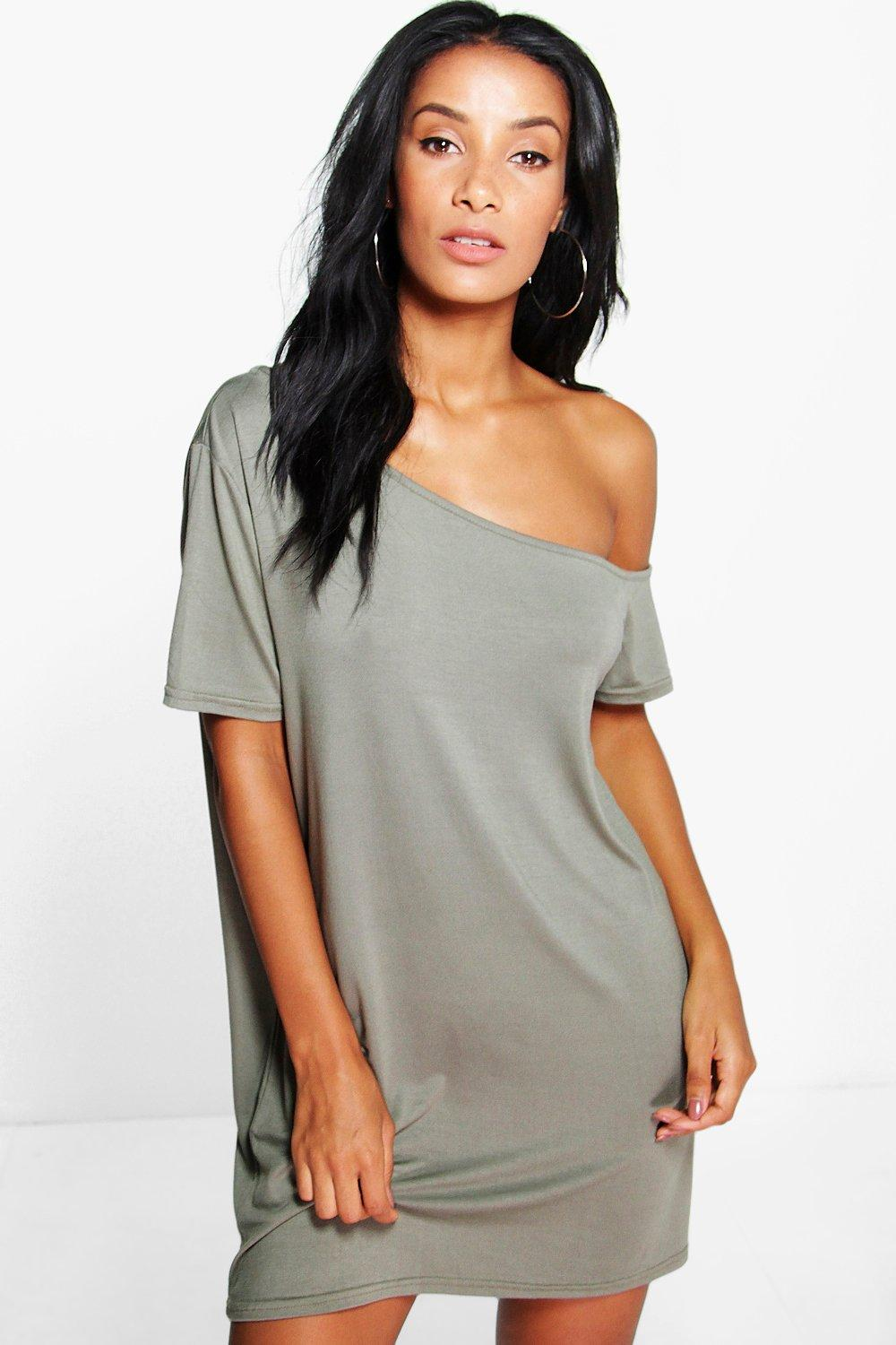 Elin Basic Slash Neck Cap Sleeve Slouch Dress