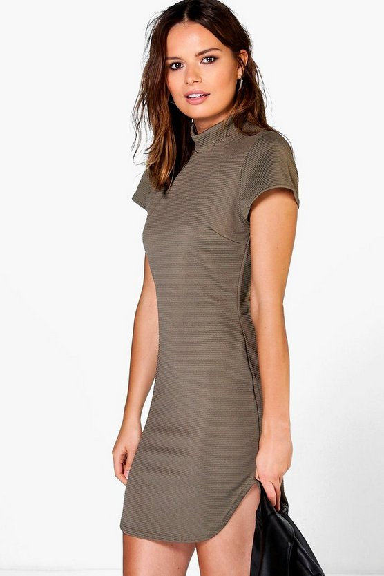 Eva Ribbed Curved Hem Bodycon Dress