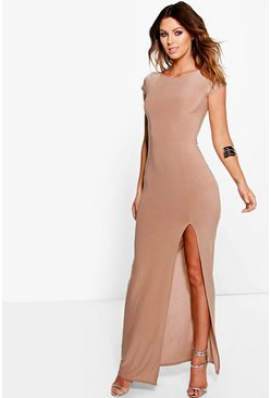 Niambh Cap Sleeve Side Split Slinky Maxi Dress