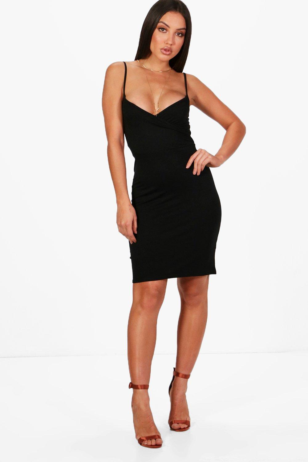 Basic Wrap Bodycon Dress black
