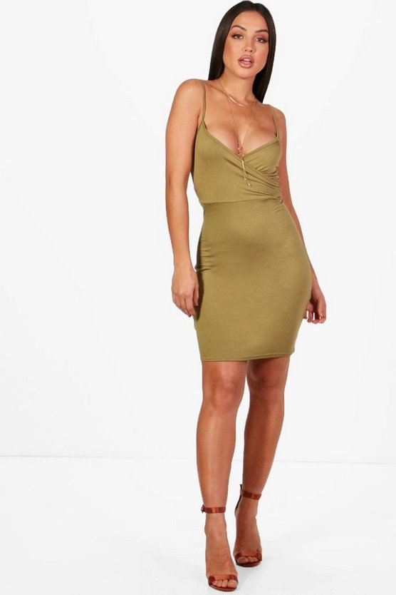 Kylie Basic Wrap Bodycon Dress
