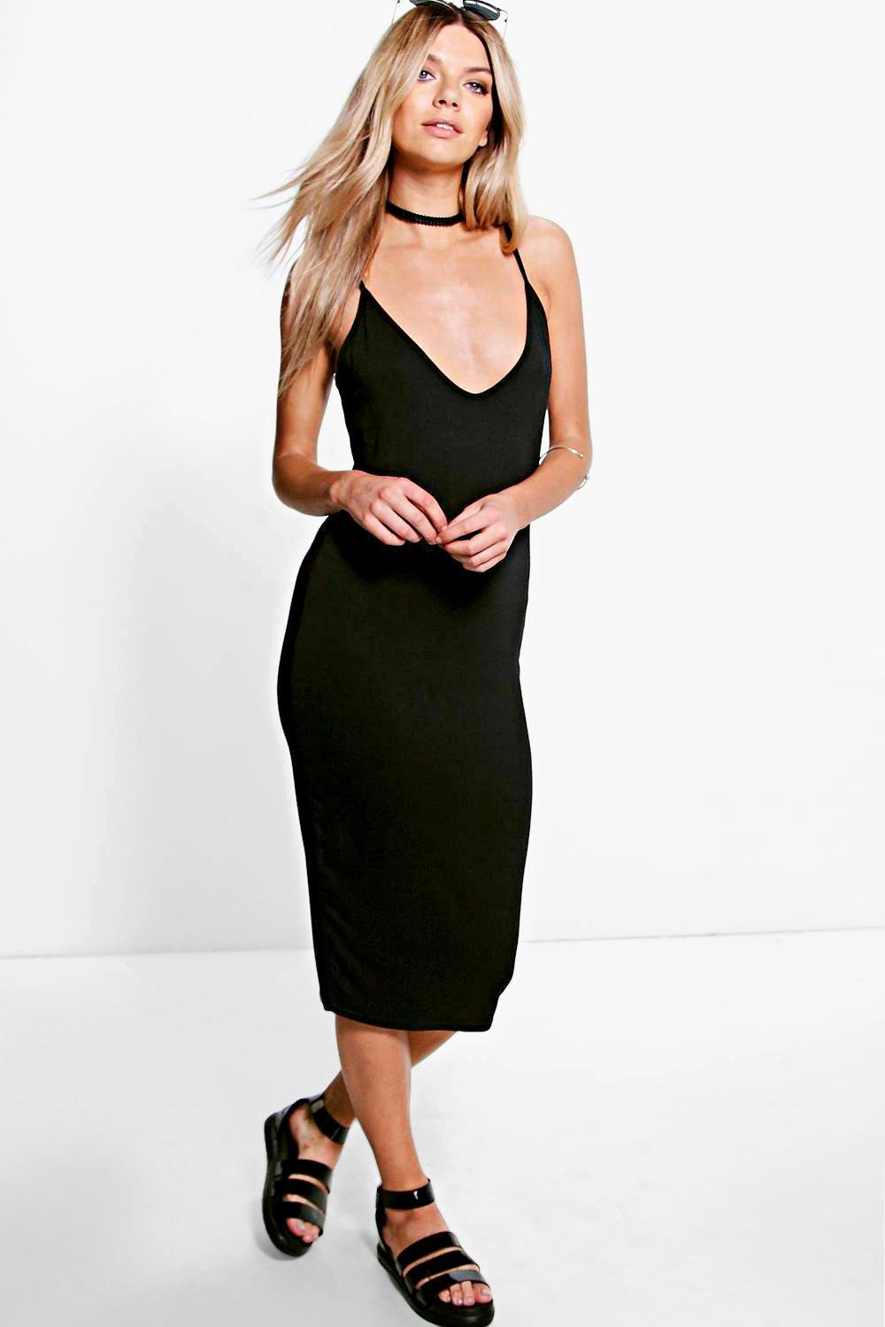 Michi Basic Plunge Strappy Midi Dress