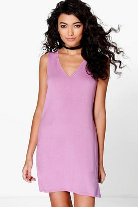 Immie Basic V Neck Shift Dress