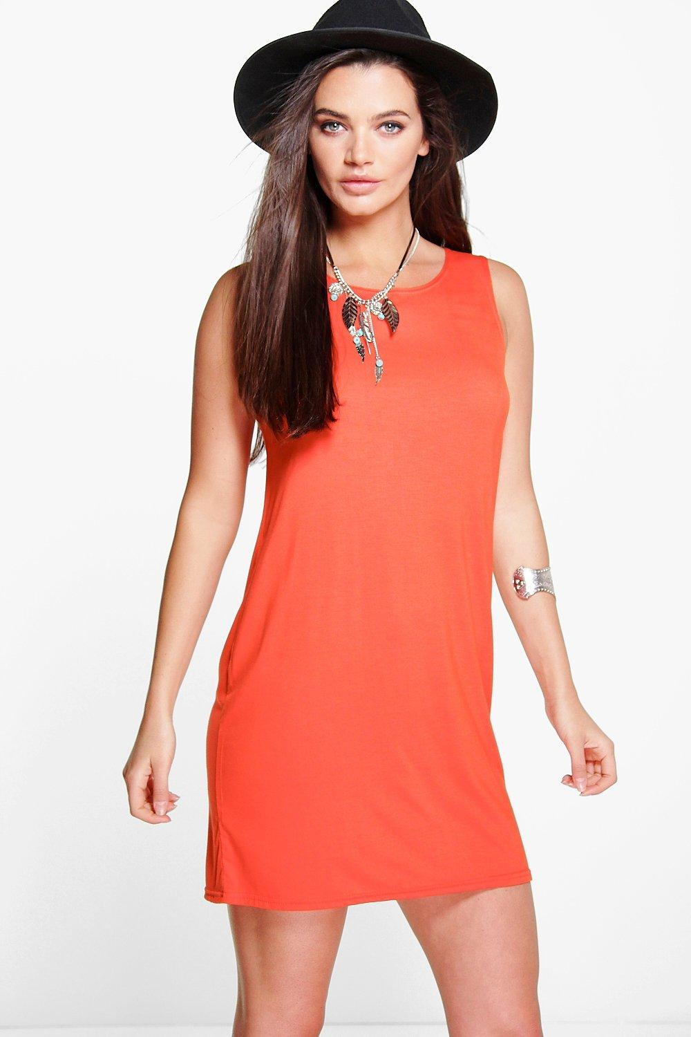 Dory Basic Crew Neck Sleeveless Shift Dress
