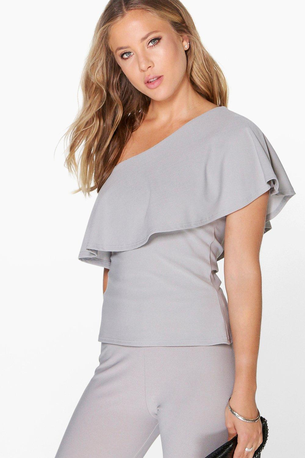 Sarah Ruffle Off The Shoulder Crepe Top