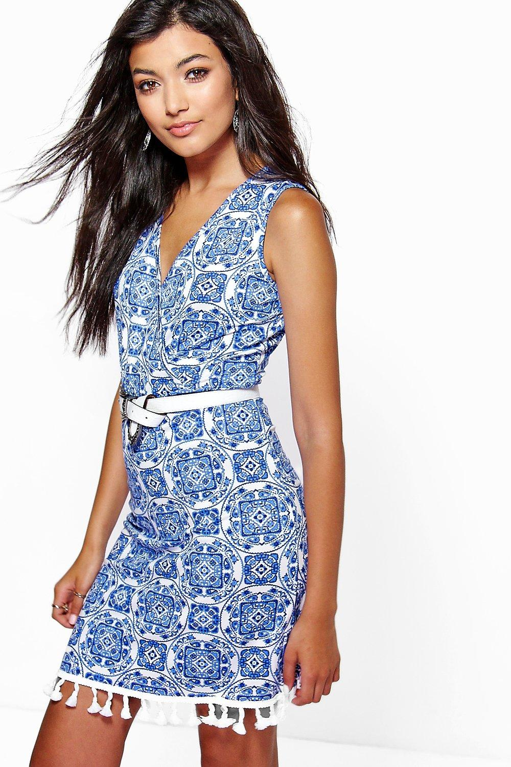 Megan Printed Tassel Trim Wrap Dress
