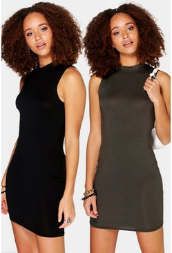 2 Pack Crew Neck Sleeveless Bodycon Dress