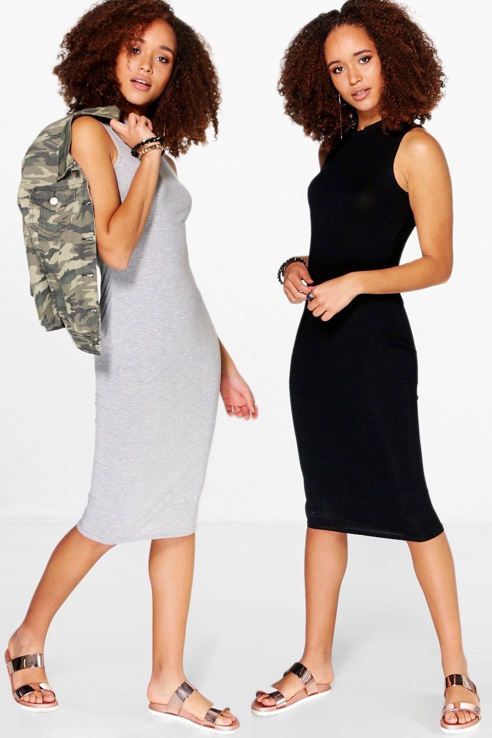 2 Pack Crew Neck Sleeveless Midi Dress