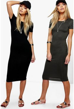2 Pack Crew Neck Midi Dress