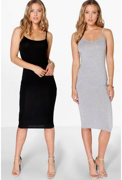 2 Pack Midi Strappy Bodycon Dress