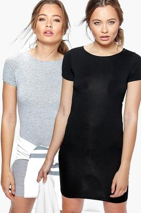 2 Pack Crew Neck Bodycon Dress