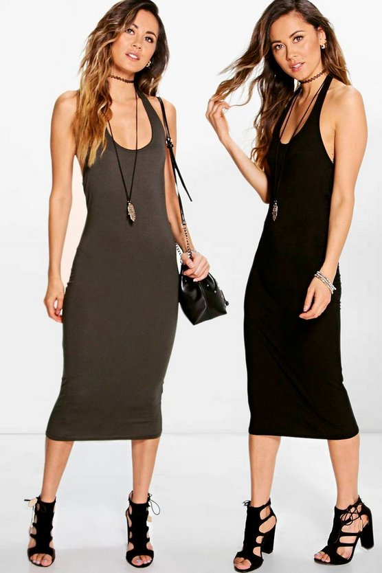 2 Pack Midi Halterneck Bodycon Dress