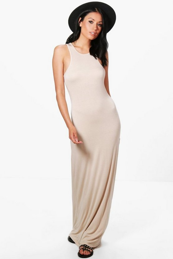 Phoebe Basic Racer Front Maxi Dress