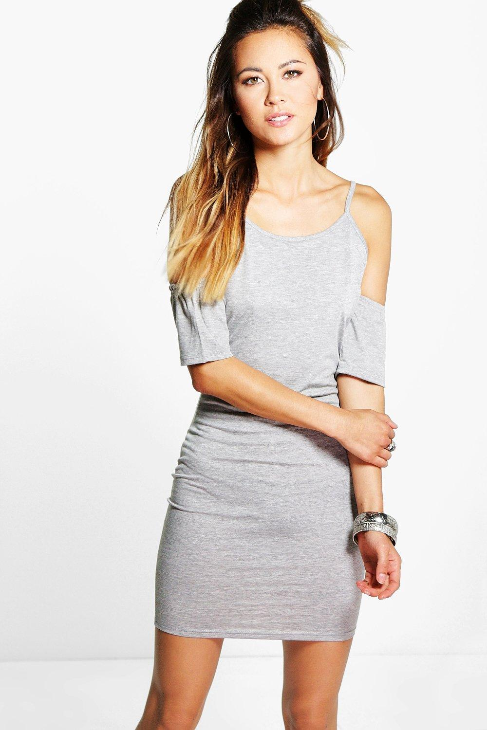 Basic Cold Shoulder Ruffle Bodycon Dress grey