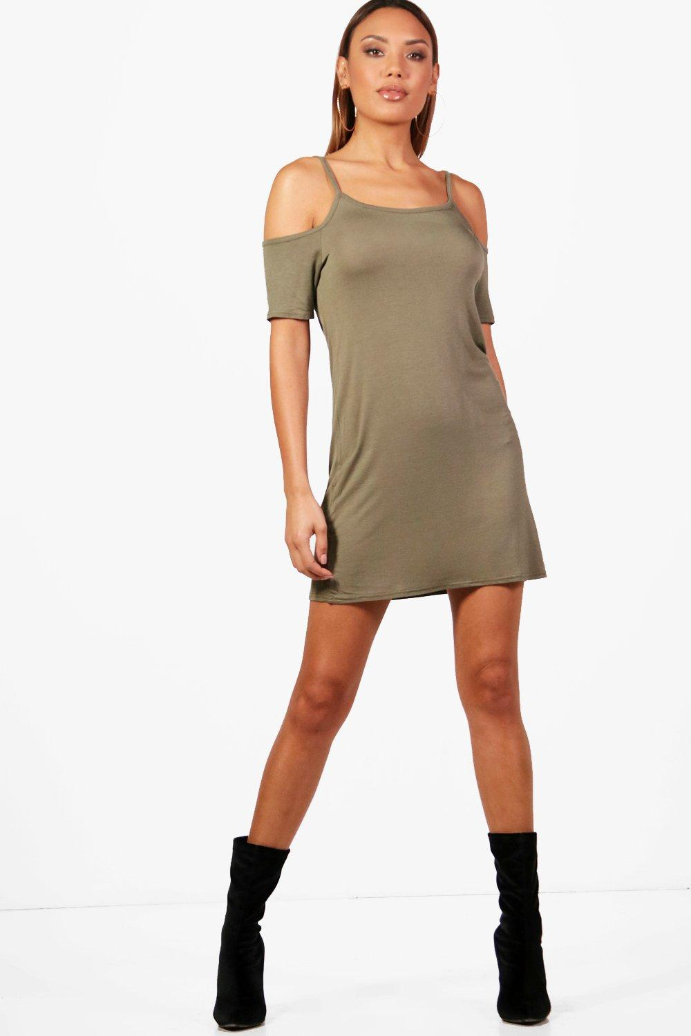 Louisa Basic Cold Shoulder Shift Dress