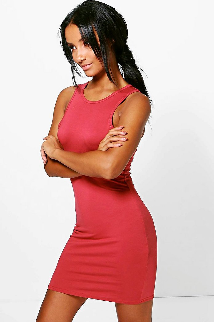 Tammi Basic Racer Front Bodycon Dress