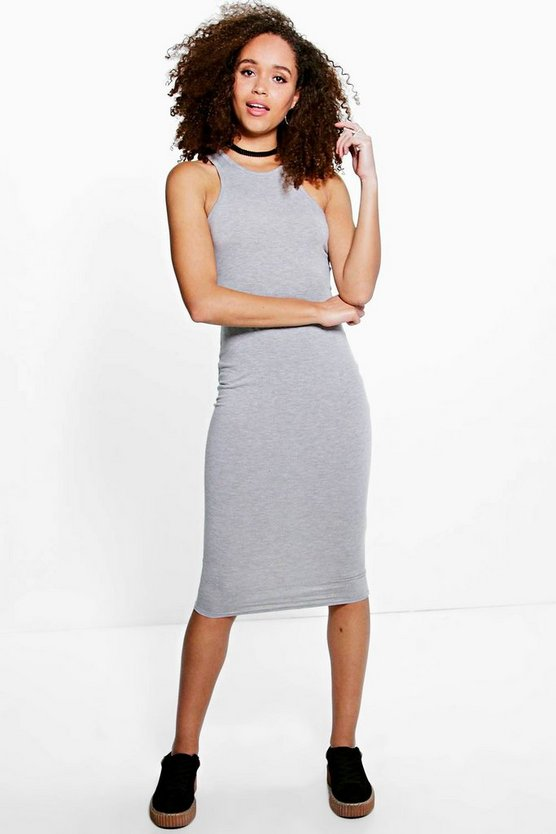 Amelie Basic Racer Front Midi Dress