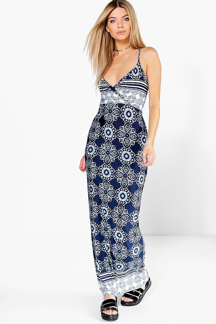 Sophia Strappy Back Border Print Maxi Dress