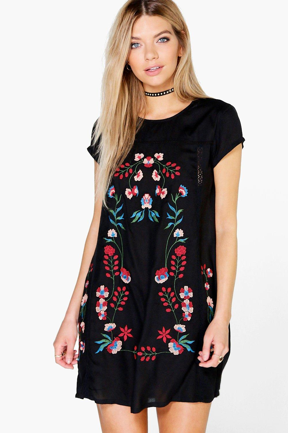 Lakshmi Embroidered Shift Dress