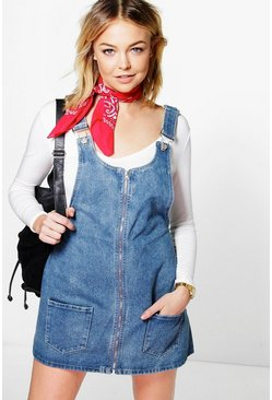 Sophia Zip Through Denim Pinafore