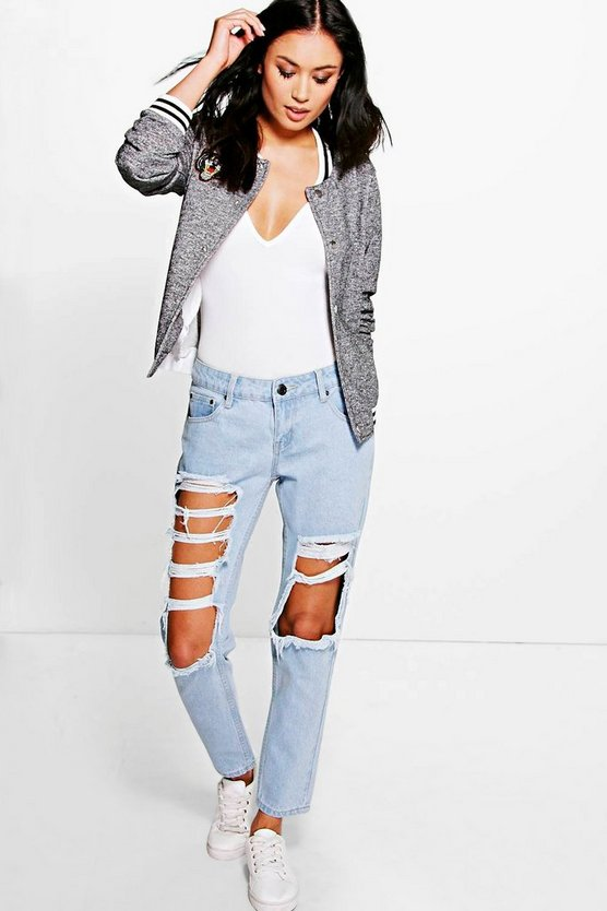 Abigail Low Rise Light Wash Distressed Boyfriend Jeans