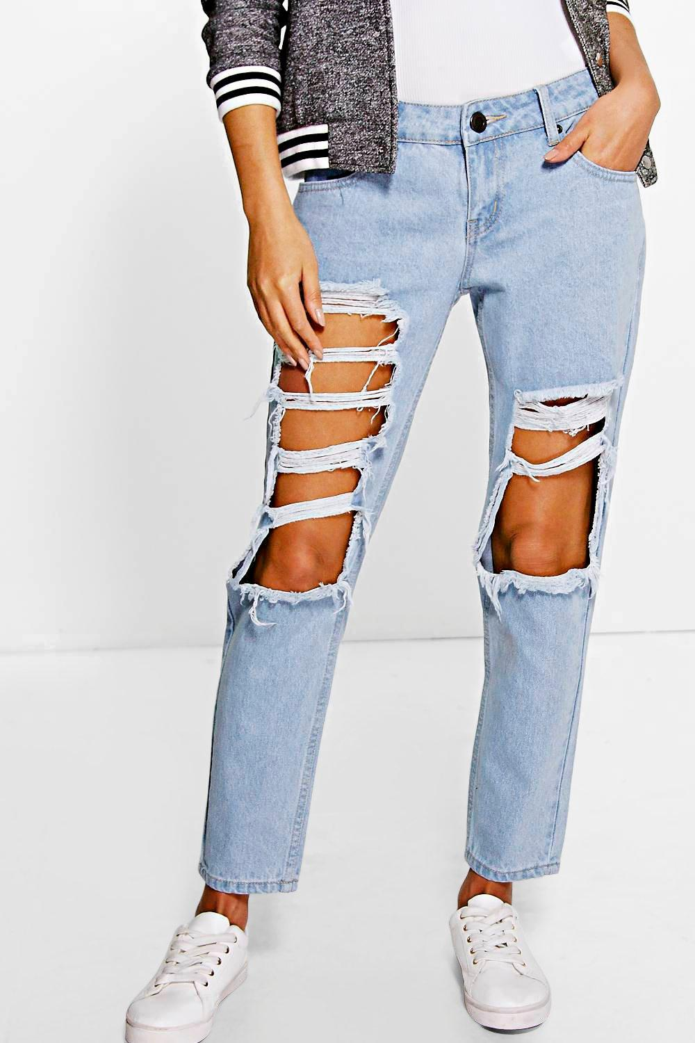boohoo womens abigail low rise light wash distressed boyfriend jeans in blue. Black Bedroom Furniture Sets. Home Design Ideas