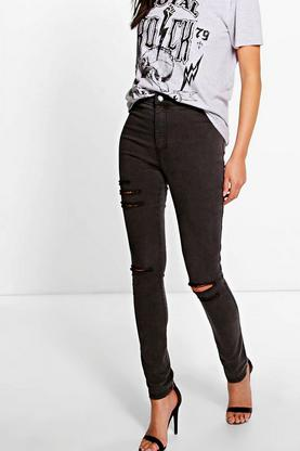 Esme Distressed High Rise Tube Jeans