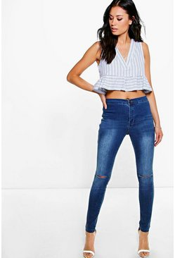 Lara High Rise Jeans With Knee Rips