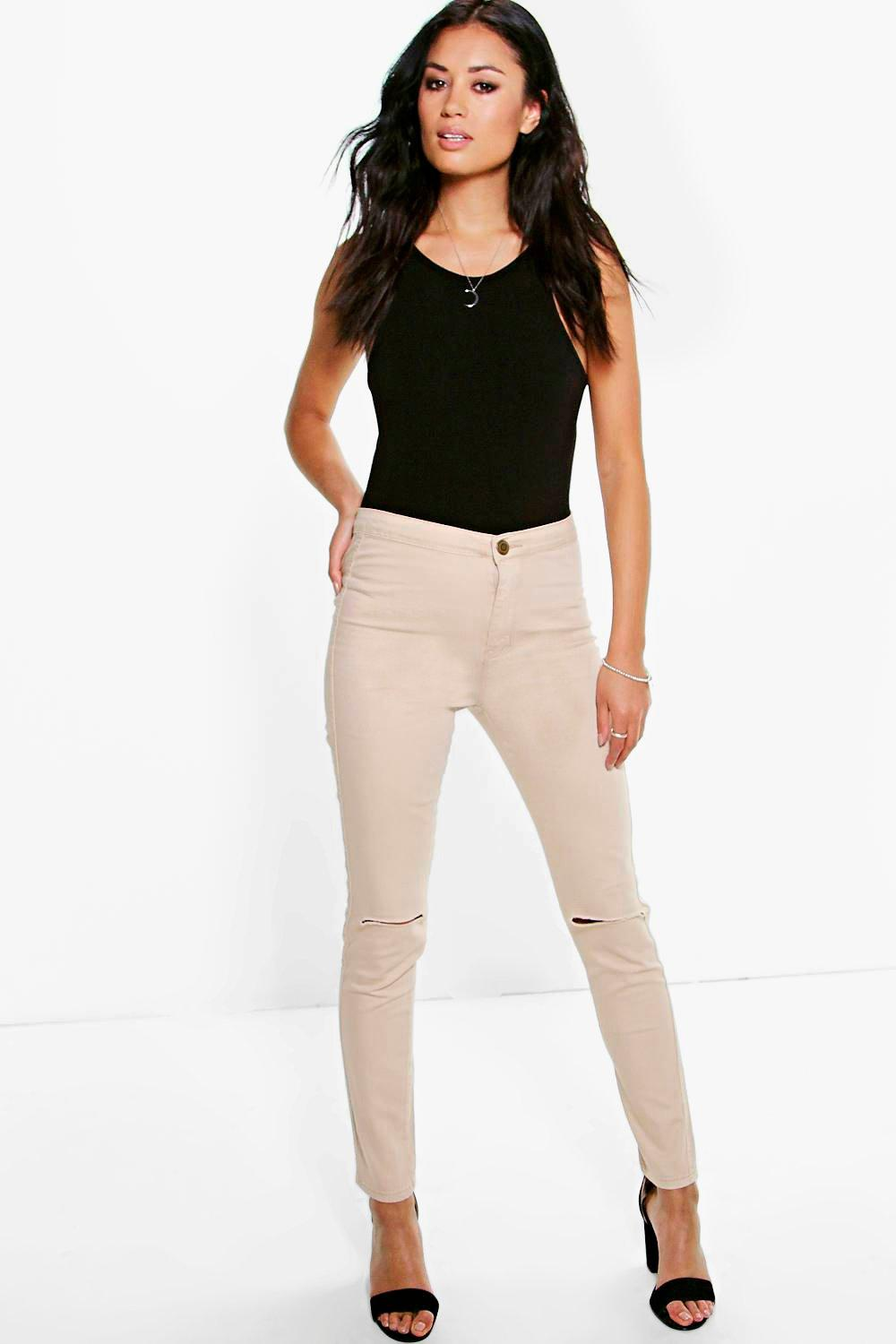 Lara High Rise Tube Jeans With Knee Rips