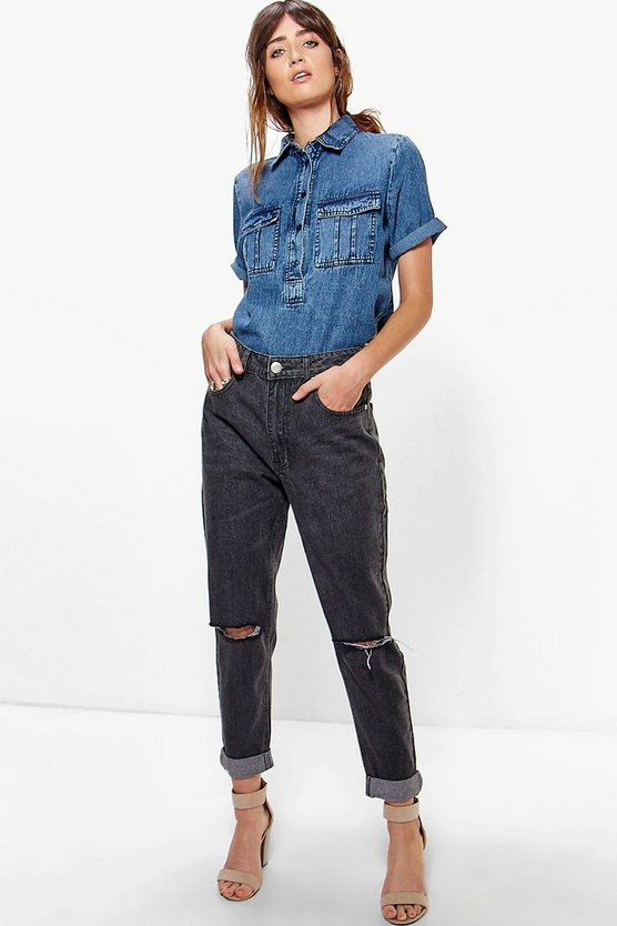 Hatty High Rise Knee Rips Boyfriend Jeans