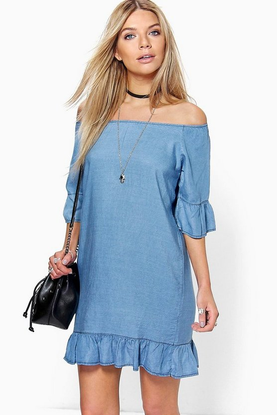 Lucy Ruffle Of The Shoulder Denim Dress