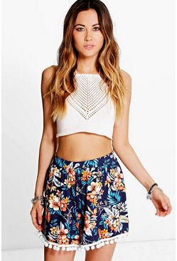 Rose Pom Pom Trim Floral Flippy Shorts