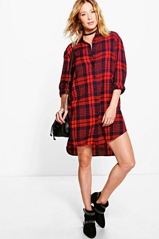 Nancy Red Check Dip Back Shirt Dress