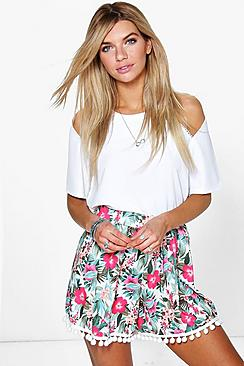 Kitty Pom Pom Trim Floral Flippy Shorts