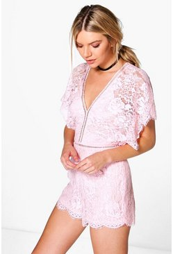 Boutique Jen Flutter Sleeve All Over Lace Playsuit