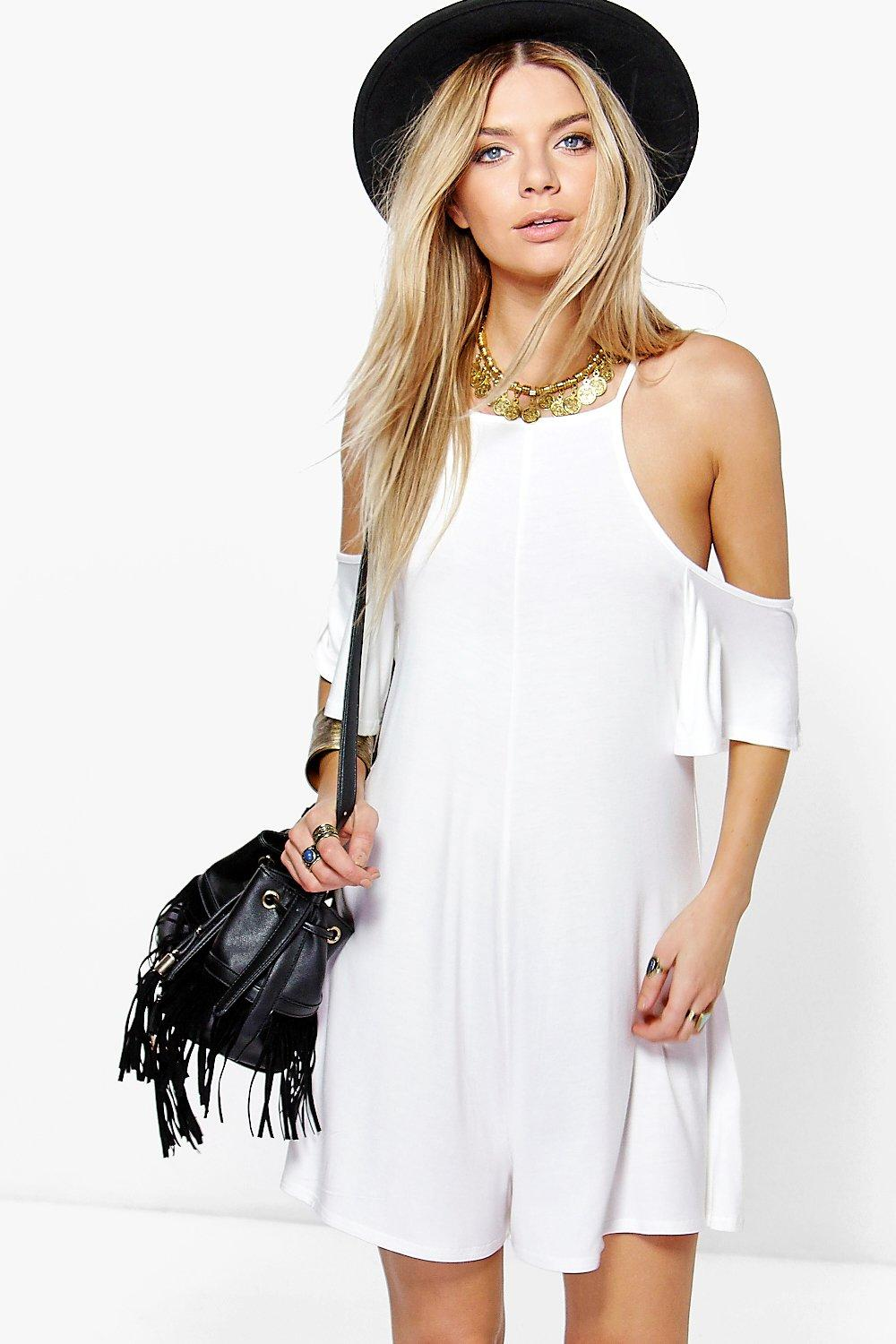 Faith Open Shoulder Jersey Playsuit