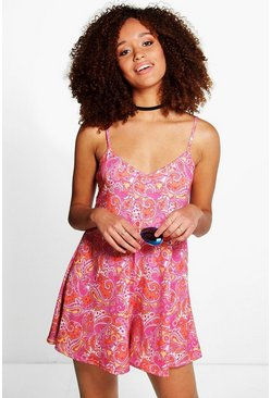 Zoe Jersey Paisley Cami Swing Playsuit