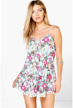 Linda Cami Floral Pom Pom Trim Swing Playsuit