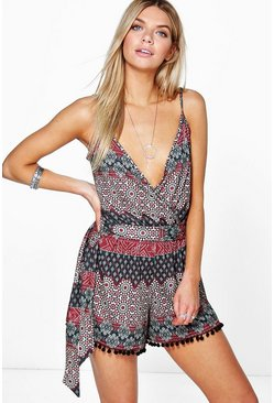 Mia Printed Cami Wrap Pom Pom Trim Playsuit