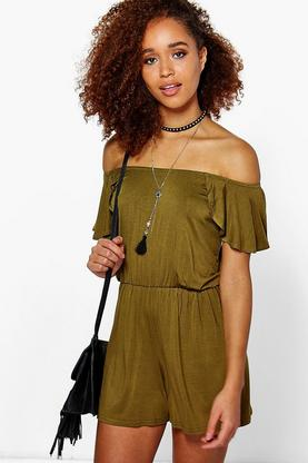 Ada Off The Shoulder Frill Sleeve Playsuit